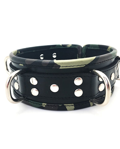 Sensual Sin Leather Five Ring Collar - Camo Piping - Casual Toys