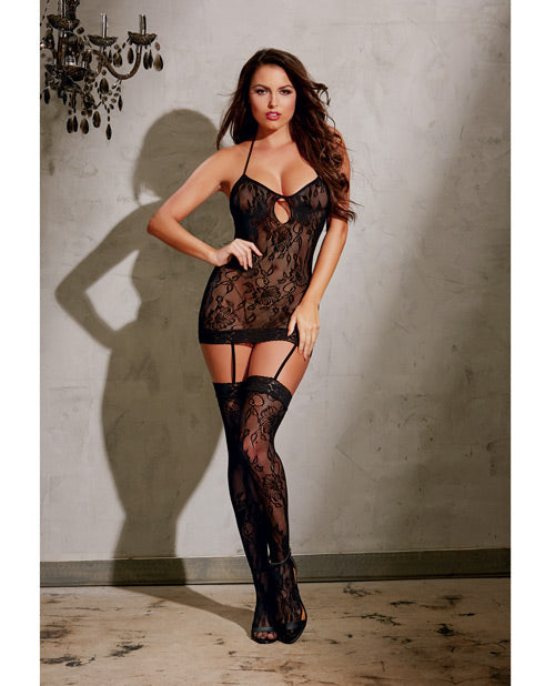Stretch Lace Garter Dress W-adjustable Halter Ties, Attached Garters & Thigh Highs Black O-s