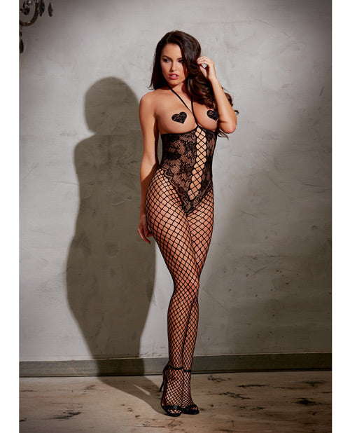 Open Cup Open Crotch Bodystocking W-knitted Lace Teddy Design Black Os - Casual Toys