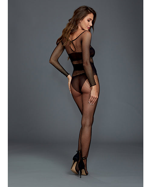 Stretch Fishnet Long Sleeved Bodystocking, Worn On Or Off The Shoulder Black O-s - Casual Toys