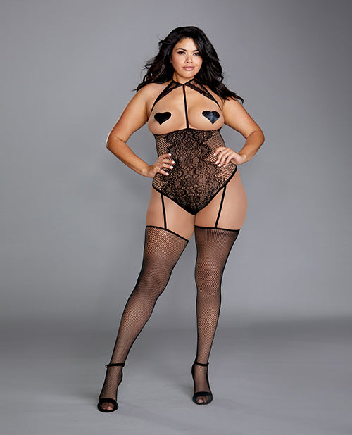 Fishnet & Lace Teddy Bodystocking W/attached Garters & Thigh Highs Black - Casual Toys