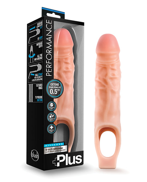 Blush Performance Plus Silicone Cock Sheath Penis Extender - Flesh - Casual Toys