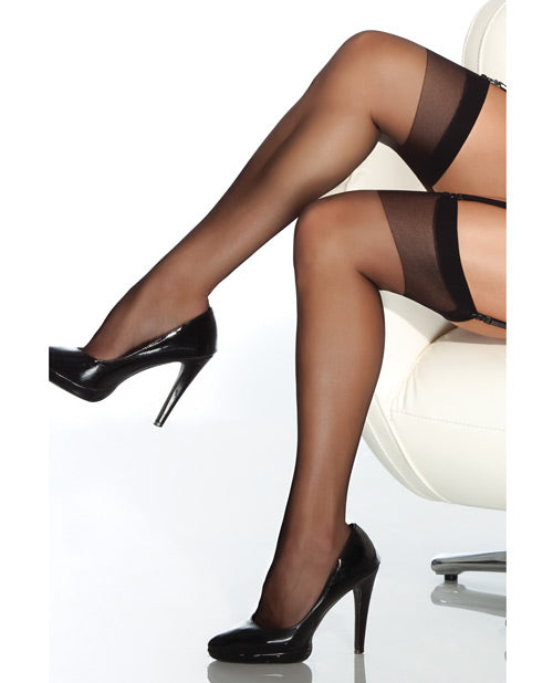 Sheer Thigh High Stocking Black O/s - Casual Toys