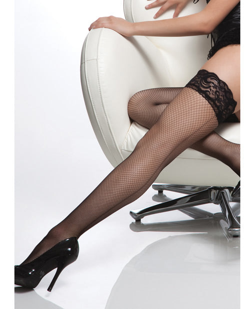 Fishnet Stay Up Silicone Lace Top Thigh High W/back Seam Black O/s - Casual Toys