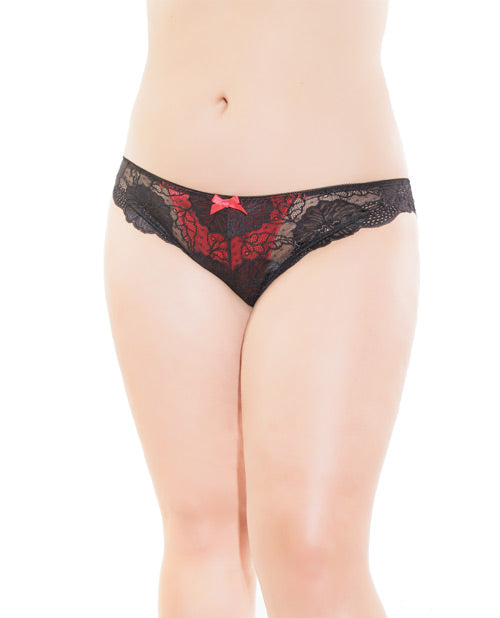 Low Rise Stretch Lace & Satin Panty Black/red Xl