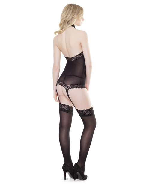 Sleek Stretch Lace Halter Top W-attch. Stockings Black O-s - Casual Toys