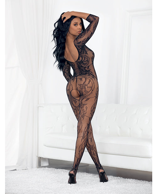 Lace 3-4 Sleeve Open Crotch Bodystocking Black O-s