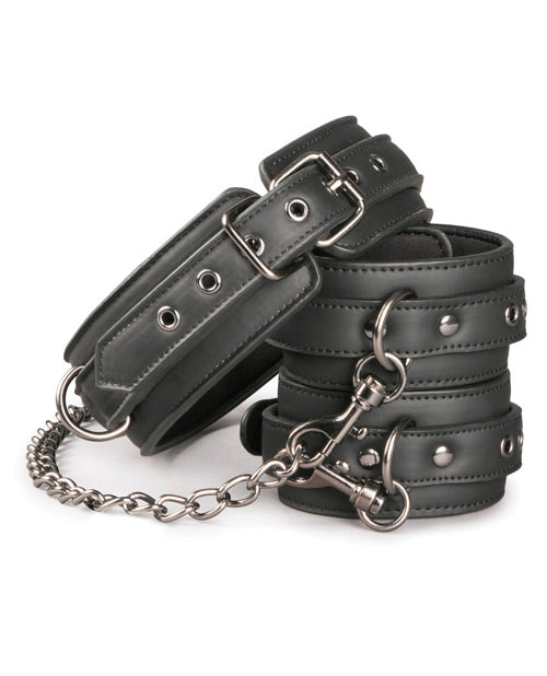Easy Toys Faux Leather Collar W-handcuffs - Black