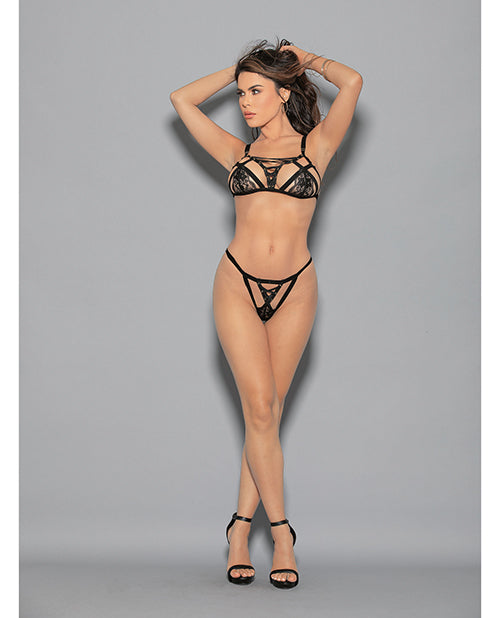 Euphoria Lattice Bra Set Black O-s - Casual Toys
