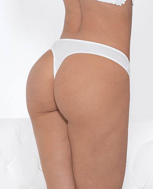 Guipure Lace & Mesh Cotton Lined Thong White Md