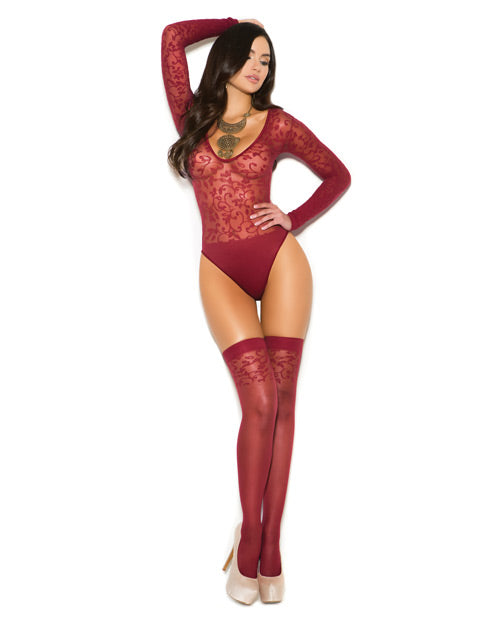 Sheer Burnout Long Sleeve Teddy & Matching Stockings Burgundy O-s