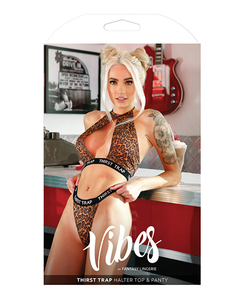 Vibes Thirst Trap Halter Top & Panty Savage Leopard - Casual Toys