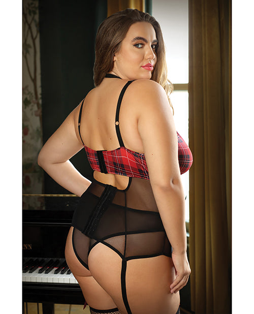 Curve Shannon Plaid Harness Bustier & Panty Red/black - Casual Toys