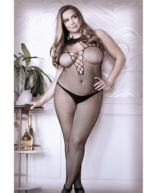 Sheer Adore You Lace Strappy Halter Fishnet Bodystocking Black Qn - Casual Toys