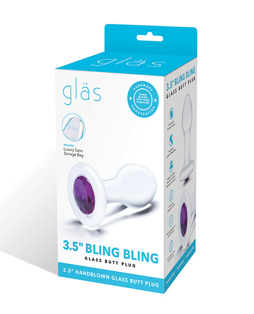 "Glas 3.5"" Bling Bling Glass Butt Plug - Clear - Casual Toys"