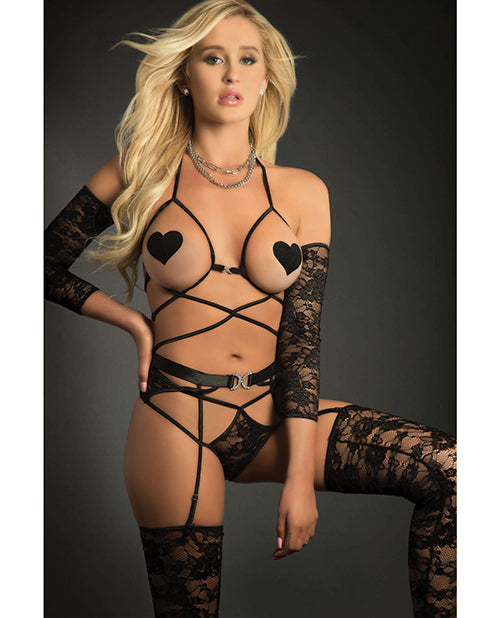 Web Garter Teddy W-open Cups, Laced Sleeves, Pasties & Stockings Black O-s - Casual Toys
