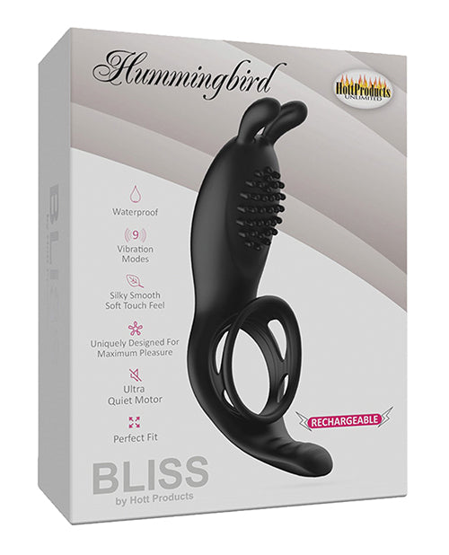 Bliss Hummingbird Vibrating Cock Ring - Black - Casual Toys