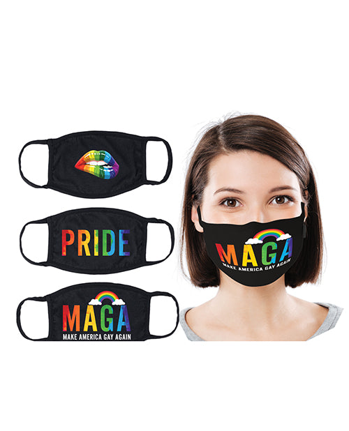 Hott Products Mask-erade Masks - Pride-gay Again- Rainbow Kiss Pack Of 3 - Casual Toys