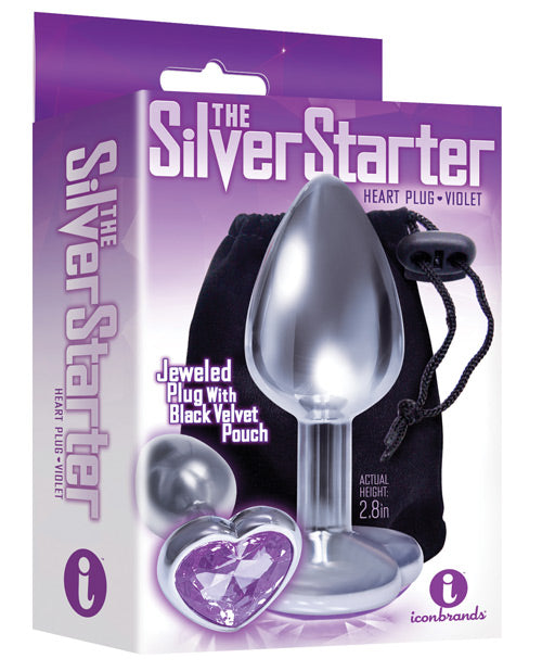 The 9's The Silver Starter Bejeweled Heart Stainless Steel Plug - - Casual Toys