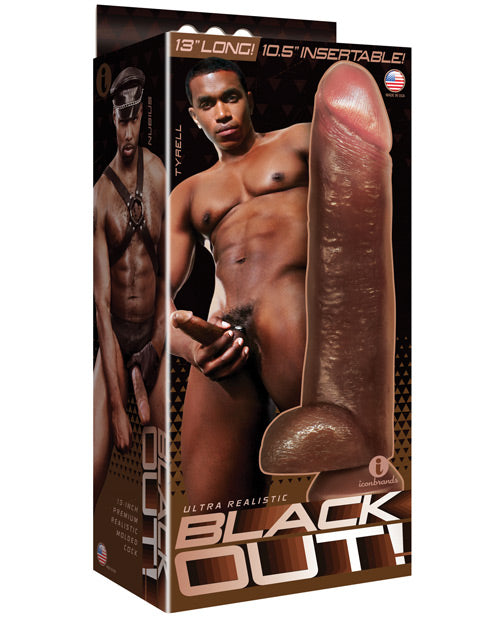 "Icon Male Blackout 12.75"" Realistic Cock & Balls W-suction Cup - Black - Casual Toys"