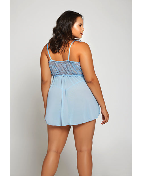 Lace & Fine Mesh Babydoll & Mesh G-string Light Blue - Casual Toys