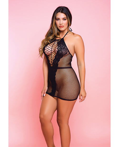 Netted Bad Romance Chemise Black - Casual Toys