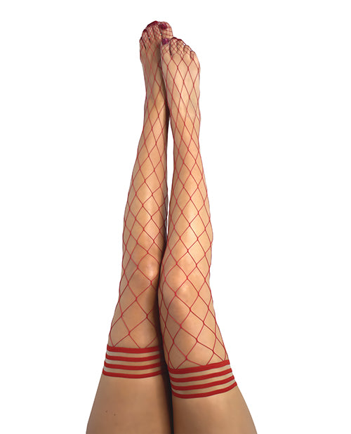 Kix'ies Claudia Large Net Fishnet Thigh Highs Red - Casual Toys