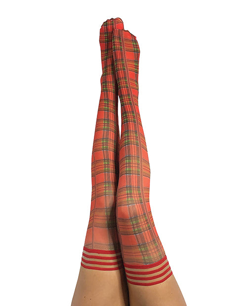 Kix'ies Grace Plaid Thigh Highs Red - Casual Toys