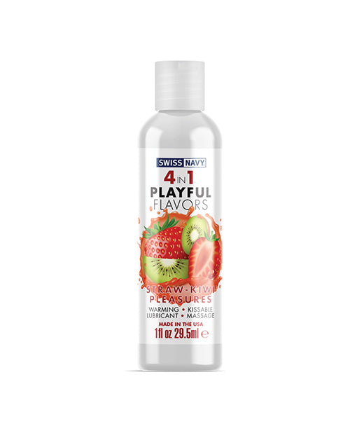 Swiss Navy 4 In 1 Playful Flavors Strawberry Kiwi Pleasure - 1 Oz - Casual Toys