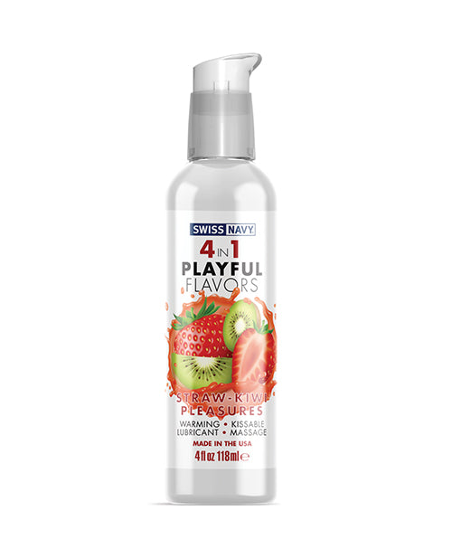 Swiss Navy 4 In 1 Playful Flavors Strawberry Kiwi Pleasure - 4 Oz - Casual Toys