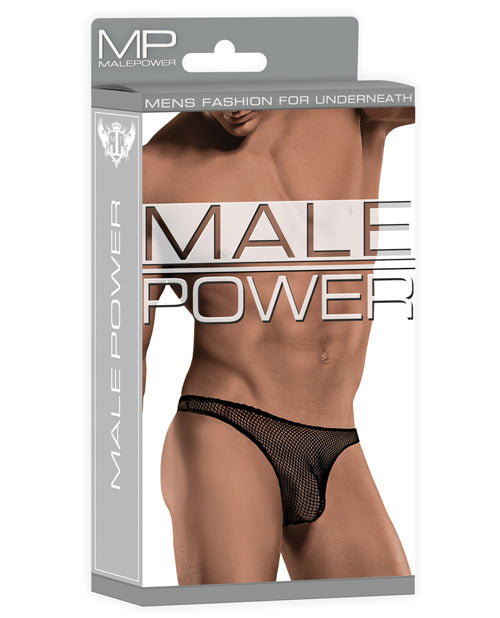 Male Power Stretch Net Pouch Thong Black - Casual Toys