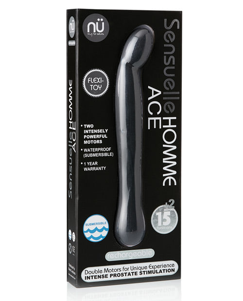 Sensuelle Homme Ace Rechargeable Prostate Massager - Black - Casual Toys