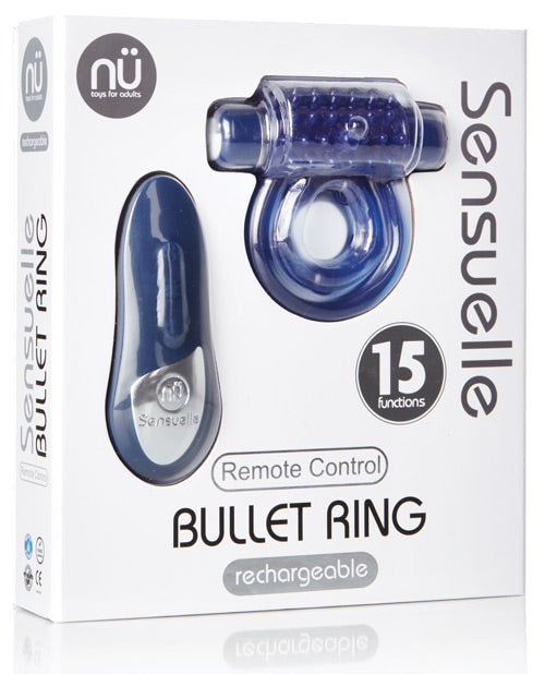 Sensuelle Remote Control Rechargeable Bullet Ring - Blue - Casual Toys