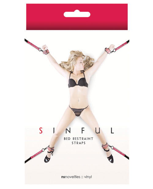 Sinful Bed Restraint Straps - Black - Casual Toys