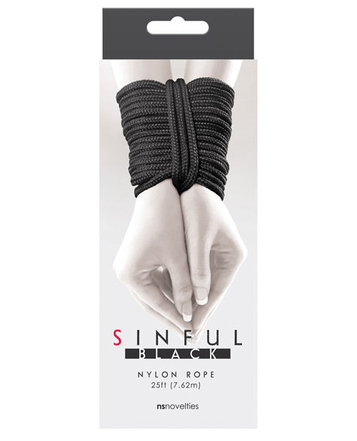 Sinful 25' Nylon Rope - Black - Casual Toys