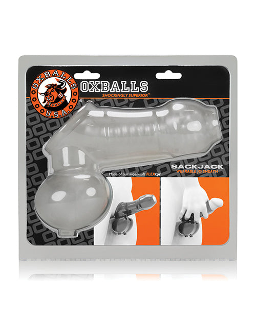 Oxballs Sackjack Wearable Jack Off Sheath - Clear Frost - Casual Toys