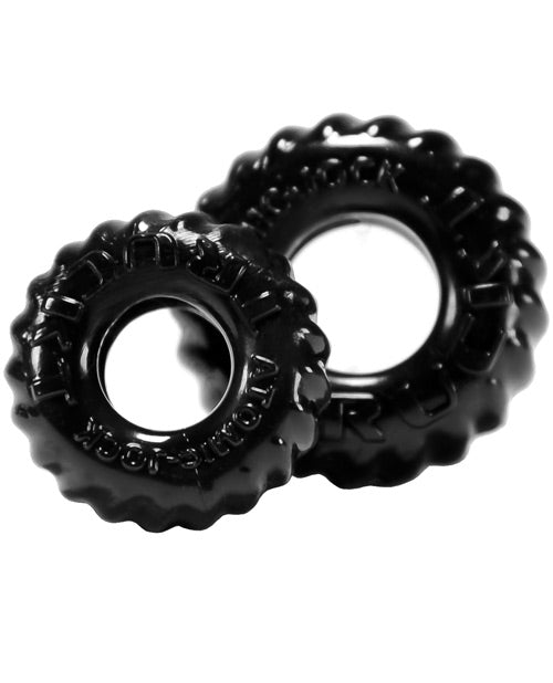 Oxballs Truckt Cock & Ball Ring - Black Pack Of 2 - Casual Toys