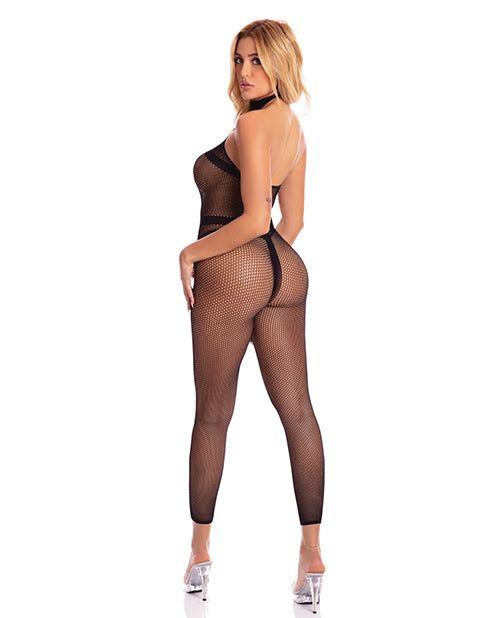 Pink Lipstick Beats Work Geo Bodystocking Black O-s - Casual Toys