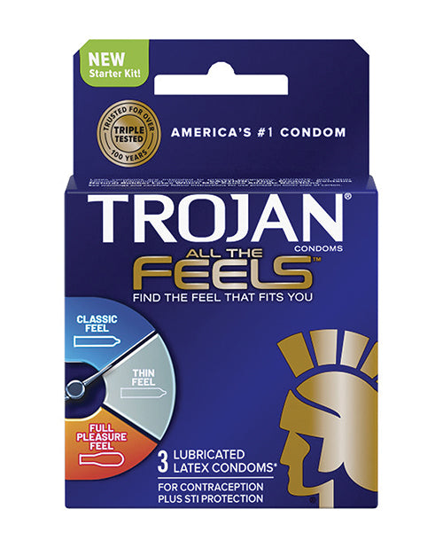 Trojan All The Feels Condoms - Pack Of 3 - Casual Toys
