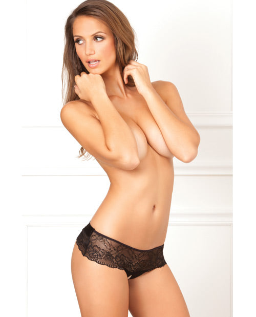 Rene Rofe Crotchless Lace Bow Back Panty Black S/m - Casual Toys