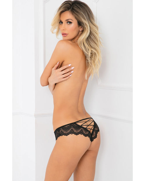 Rene Rofe Come Undone Crotchless Panty Black - Casual Toys