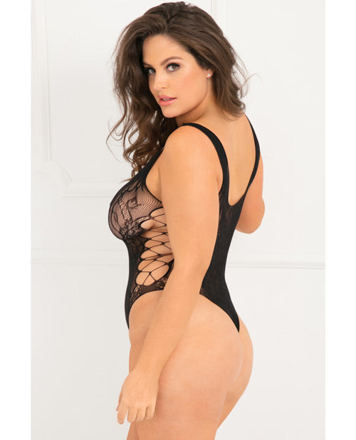 Rene Rofe Laced Up Sexy Bodysuit Black Qn