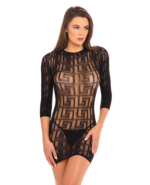 Rene Rofe Exotic Geometry Mini Dress Black