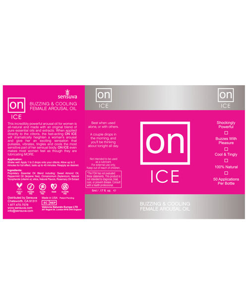 On Ice Buzzing & Cooling Female Arousal Oil - 5 Ml Bottle
