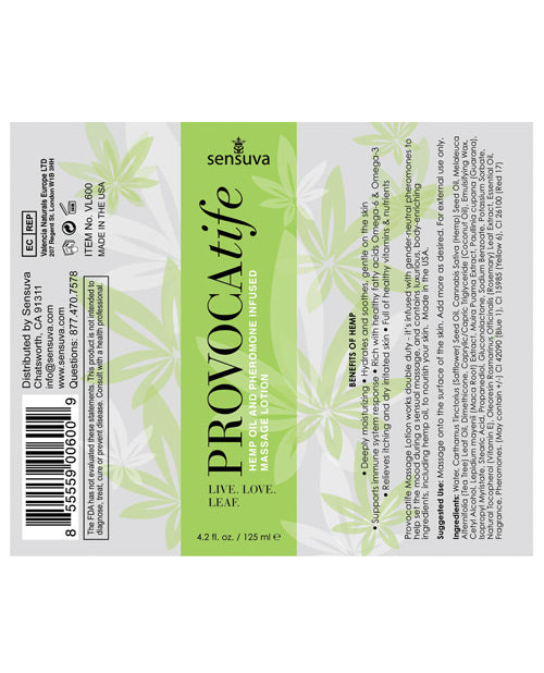 Provocatife Hemp Oil Massage Lotion W-pheromones - Casual Toys
