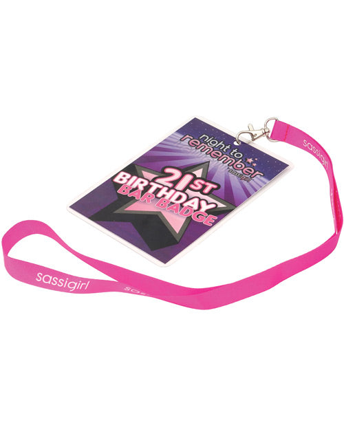 Night To Remember 21st Birthday Bar Badge By Sassigirl - Purple - Casual Toys