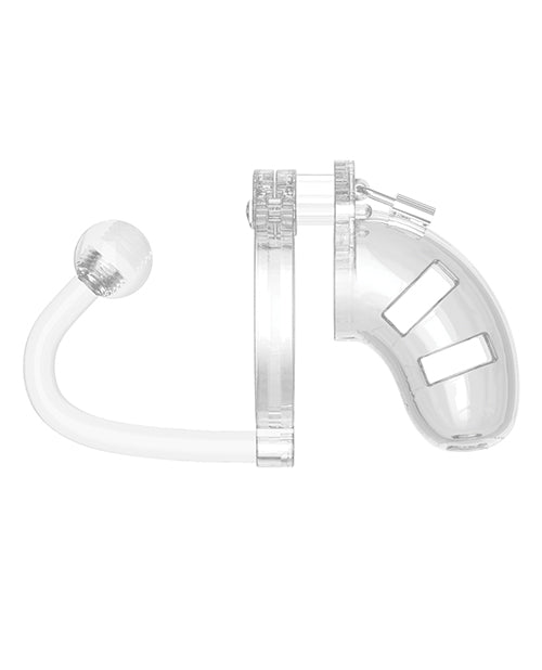 "Shots Man Cage Chastity 3.5"" Cock Cage W-plug Model 10 - Clear"