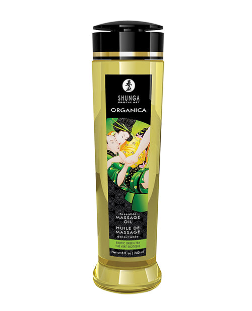 Shunga Organic Kissable Massage Oil - 8.5 Oz Exotic Green Tea - Casual Toys