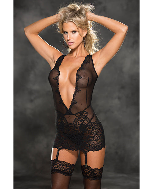 Stretch Lace Patterned Gartered Chemise & G-string Black - Casual Toys