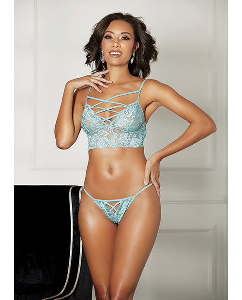 Strappy Lace Bra And & Thong Mint - Casual Toys